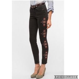 GUC BDG embroidered Cigarette High-Rise Ankle Jean